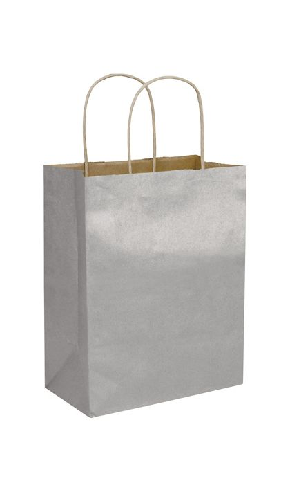 Silver Metallic-on-Kraft Shoppers, 8 1/4 x 4 3/4 x 10 1/2""
