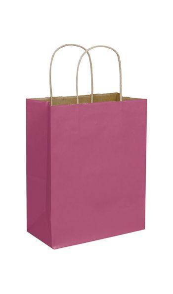 Cerise Color-on-Kraft Shoppers, 8 1/4 x 4 3/4 x 10 1/2