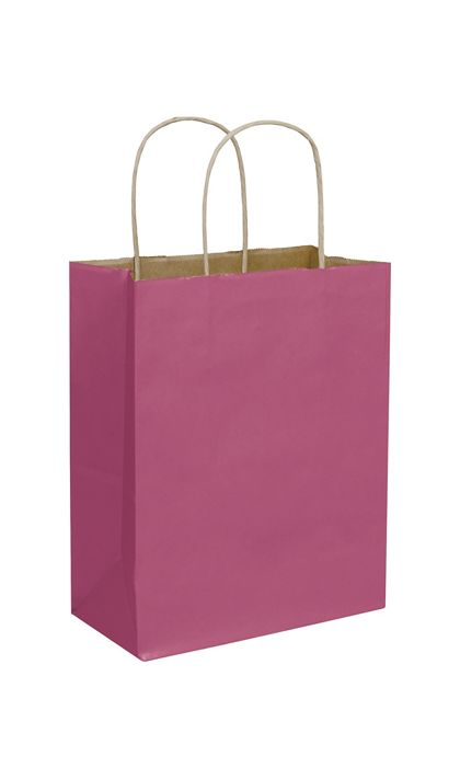 "Cerise Color-on-Kraft Shoppers, 8 1/4 x 4 3/4 x 10 1/2"""