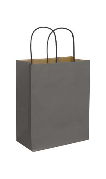 Storm Grey Color-on-Kraft Shoppers, 8 1/4x4 3/4x10 1/2