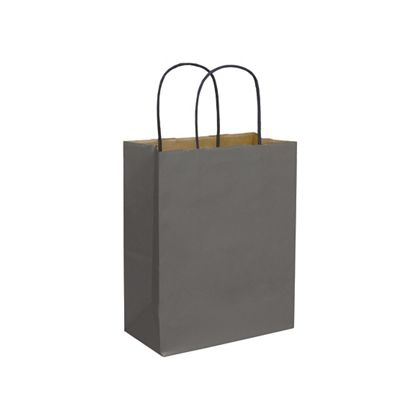 Storm Grey Color-on-Kraft Shoppers, 8 1/4x4 3/4x10 1/2""