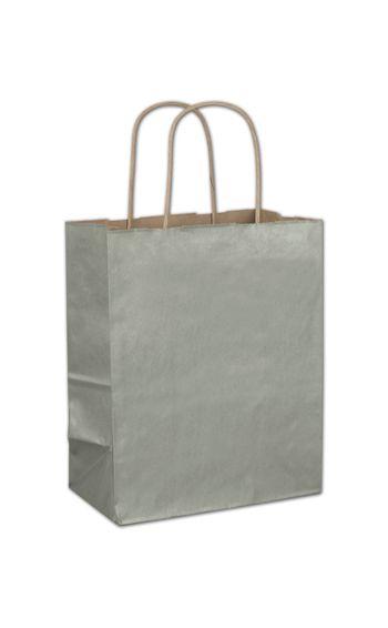 Sage Metallic-on-Kraft Shoppers, 8 1/4 x 4 3/4 x 10 1/2