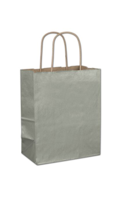 Sage Metallic-on-Kraft Shoppers, 8 1/4 x 4 3/4 x 10 1/2""