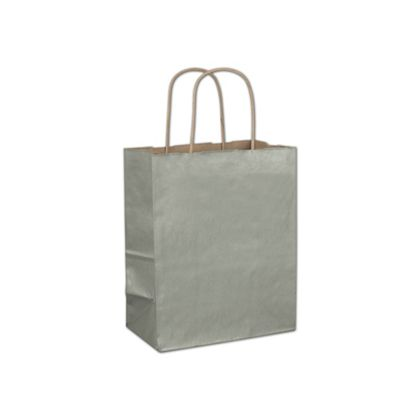 Sage Metallic-on-Kraft Shoppers, 8 1/4 x 4 3/4 x 10 1/2