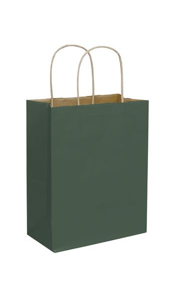 Forest Green Color-on-Kraft Shoppers, 8 1/4x4 3/4x10 1/2