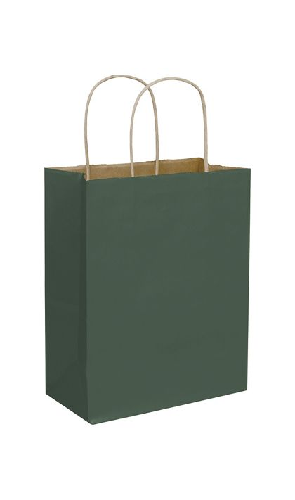 Forest Green Color-on-Kraft Shoppers, 8 1/4x4 3/4x10 1/2""