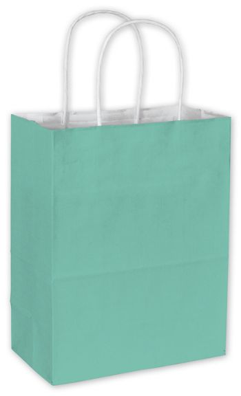 Aqua Cotton Candy Shoppers, 8 1/4 x 4 3/4 x 10 1/2