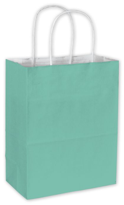 Aqua Cotton Candy Shoppers, 8 1/4 x 4 3/4 x 10 1/2""
