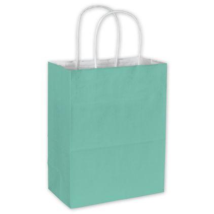 "Aqua Color-on-White Kraft Shoppers 8 1/4 x 4 3/4 x 10 1/2"""