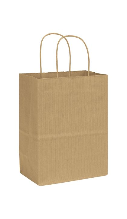 Kraft Varnish Stripe Shoppers, 8 1/4 x 4 3/4 x 10 1/2""