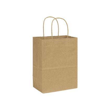 Kraft Varnish Stripe Shoppers, 8 1/4 x 4 3/4 x 10 1/2