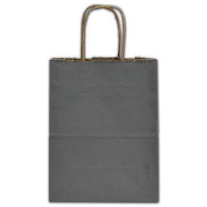 "Slate Gray Color-on-Kraft Shoppers, 8 1/4x4 3/4x10 1/2"""