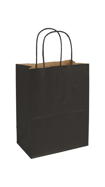 Black Varnish Stripe Shoppers, 8 1/4 x 4 3/4 x 10 1/2