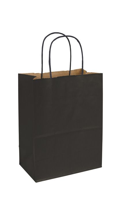 Black Varnish Stripe Shoppers, 8 1/4 x 4 3/4 x 10 1/2""