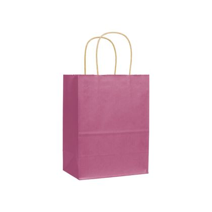 Cerise Varnish Stripe Shoppers, 8 1/4 x 4 3/4 x 10 1/2