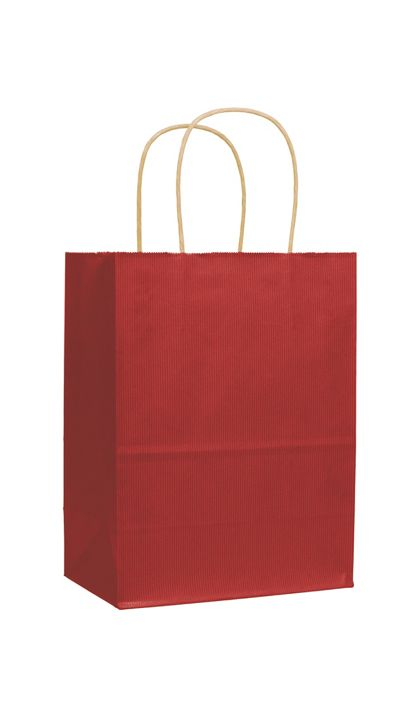 Red Varnish Stripe Shoppers, 8 1/4 x 4 3/4 x 10 1/2""