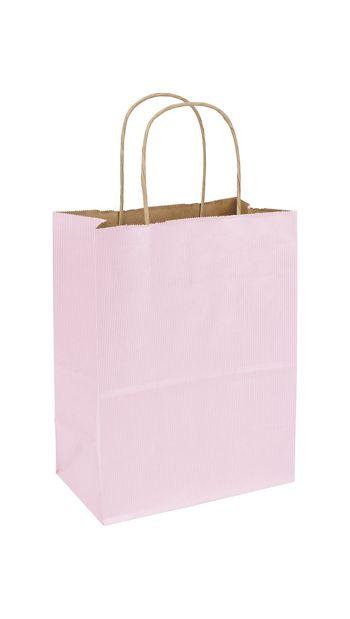 Light Pink Varnish Stripe Shoppers, 8 1/4x4 3/4x10 1/2