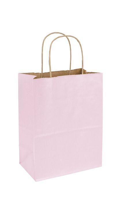 "Light Pink Varnish Stripe Shoppers, 8 1/4x4 3/4x10 1/2"""