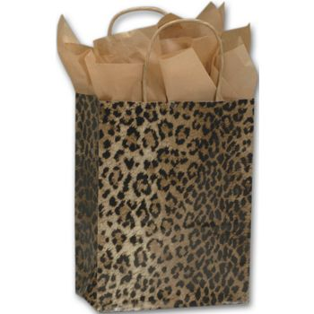 Leopard Printed Shoppers, 8 1/4 x 4 3/4 x 10 1/2