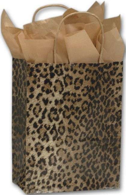 Leopard Printed Shoppers, 8 1/4 x 4 3/4 x 10 1/2""