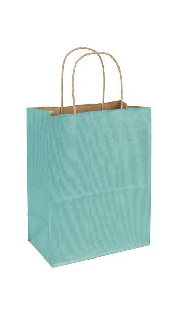 Seafoam Varnish Stripe Shoppers, 8 1/4 x 4 3/4 x 10 1/2