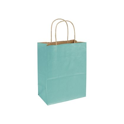 Seafoam Varnish Stripe Shoppers, 8 1/4 x 4 3/4 x 10 1/2""