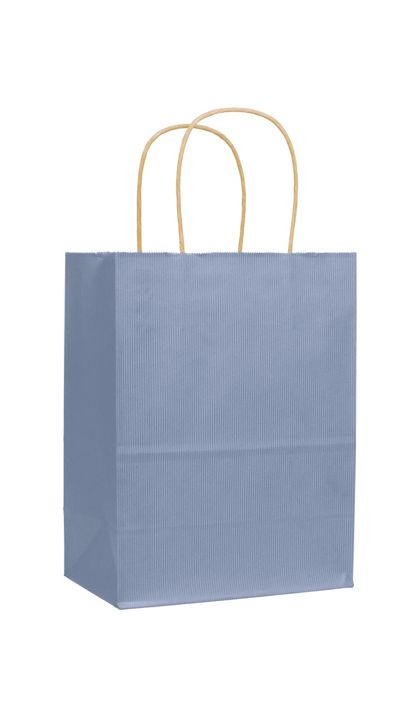 French Blue Varnish Stripe Shoppers, 8 1/4x4 3/4x10 1/2""