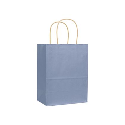French Blue Varnish Stripe Shoppers, 8 1/4x4 3/4x10 1/2