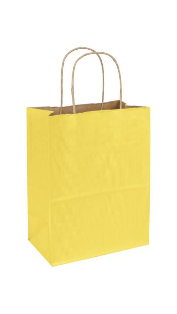Yellow Varnish Stripe Shoppers, 8 1/4 x 4 3/4 x 10 1/2