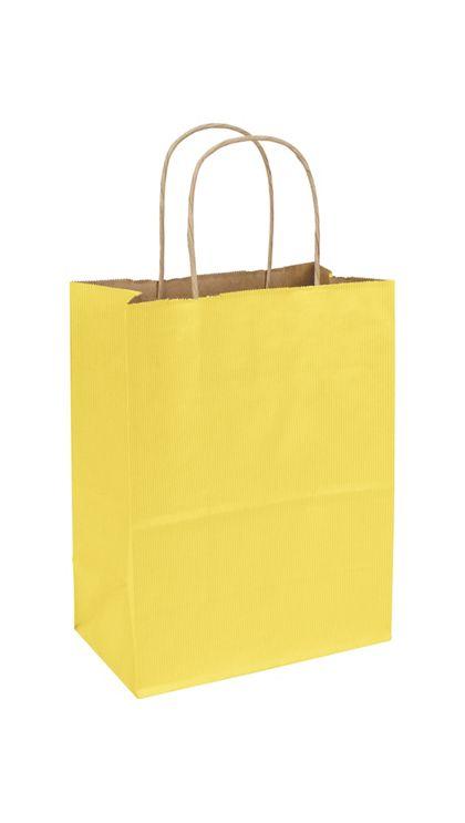 Yellow Varnish Stripe Shoppers, 8 1/4 x 4 3/4 x 10 1/2