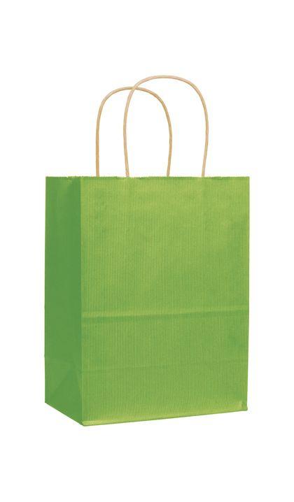 "Apple Green Varnish Stripe Shoppers, 8 1/4x4 3/4x10 1/2"""