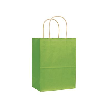Apple Green Varnish Stripe Shoppers, 8 1/4x4 3/4x10 1/2