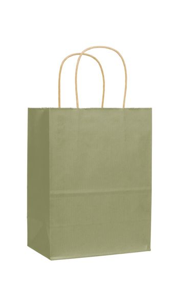 Khaki Varnish Stripe Shoppers, 8 1/4 x 4 3/4 x 10 1/2