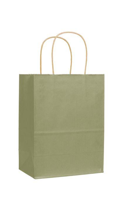 "Khaki Varnish Stripe Shoppers, 8 1/4 x 4 3/4 x 10 1/2"""