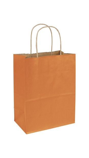 Terracotta Varnish Stripe Shoppers, 8 1/4 x 4 3/4 x 10 1/2