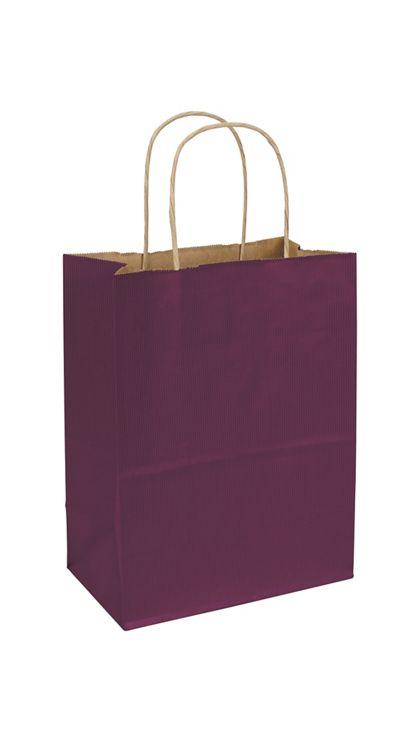 "Grape Varnish Stripe Shoppers, 8 1/4 x 4 3/4 x 10 1/2"""