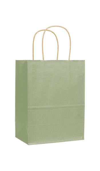 Sage Varnish Stripe Shoppers, 8 1/4 x 4 3/4 x 10 1/2