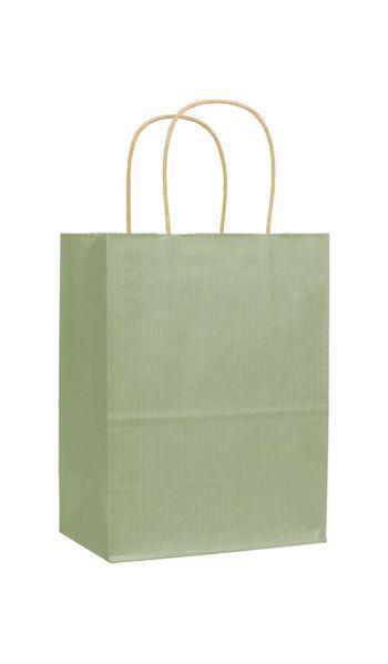 Sage Varnish Stripe Shoppers, 8 1/4 x 4 3/4 x 10 1/2
