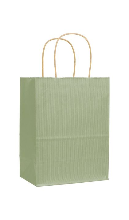 "Sage Varnish Stripe Shoppers, 8 1/4 x 4 3/4 x 10 1/2"""