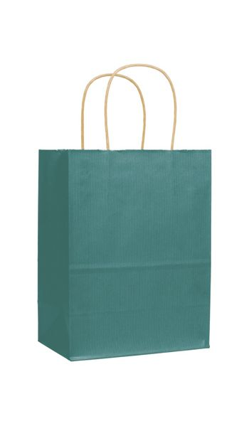 Peacock Varnish Stripe Shoppers, 8 1/4 x 4 3/4 x 10 1/2