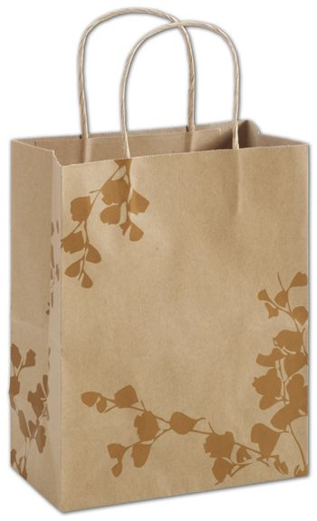 Botanical Charm Metallic Shoppers, 8 1/4 x 4 3/4 x 10 1/2