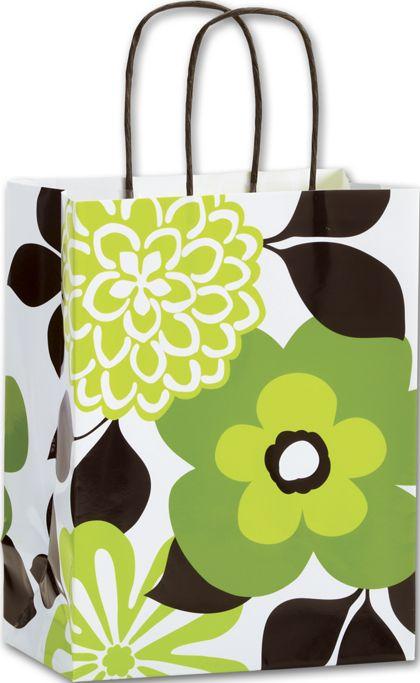 "Bold Flower Shoppers, 8 1/4 x 4 3/4 x 10 1/2"""