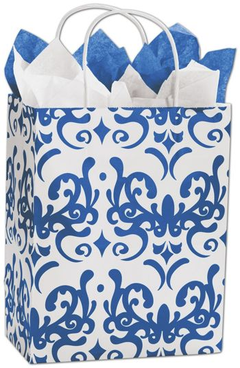 Classicality Blue Shoppers, 8 1/4 x 4 3/4 x 10 1/2