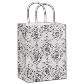 Damask Shoppers, 8 1/4 x 4 3/4 x 10 1/2
