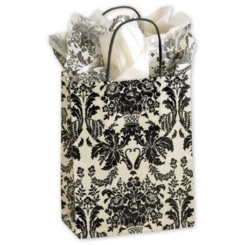 Onyx Damask Cub Shoppers, 8 1/4 x 4 3/4 x 10 1/2