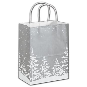 Frosted Fir Shoppers, 8 1/4 x 4 3/4 x 10 1/2