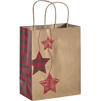Festive Flannel Shoppers, 8 1/4 x 4 3/4 x 10 1/2