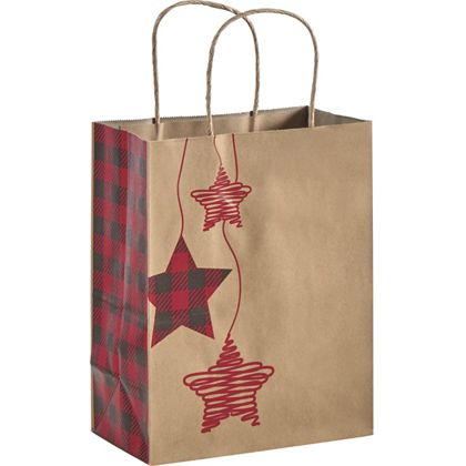 Festive Flannel Shoppers, 8 1/4 x 4 3/4 x 10 1/2""