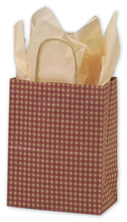 Red Gingham Printed Shoppers, 8 1/4 x 4 3/4 x 10 1/2""