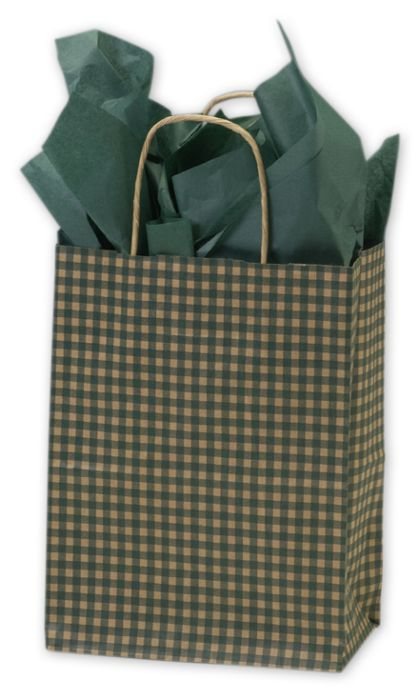 Green Gingham Printed Shoppers, 8 1/4 x 4 3/4 x 10 1/2